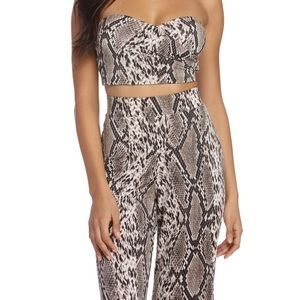 Snakeskin two piece top and pants set